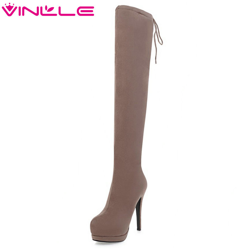 VINLLE 2018 Women Shoes Over The Knee Boots Square High Heel Elastic band Black Pointed Toe Ladies Motorcycle Shoes Size 34-43 2018 sexy black flock square high heel fashion woman over the knee boots women shoes ladies motorcycle boots size 34 43