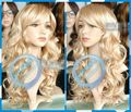 HOT sell Free Shipping >>>>COS Wig New Wig Mix Blonde Wig Long Curly Hair Wig Oblique Bangs
