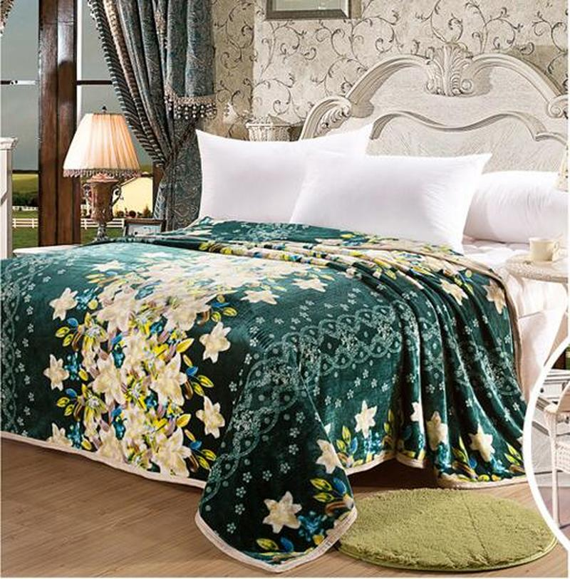 Us 17 09 5 Off Blanket C Fleece Green Flowers Throws On Sofa Bed Plane Travel Size Home Textiles In Blankets From Garden