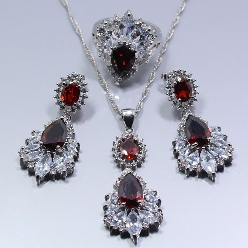 Hochzeits- & Verlobungs-schmuck Manny Frauen Hochzeit Schmuck Set 925 Silber Red Rhodolith Weißen Kristall Ohrringe Ring Halskette Anhänger Freies Geschenk Tz271