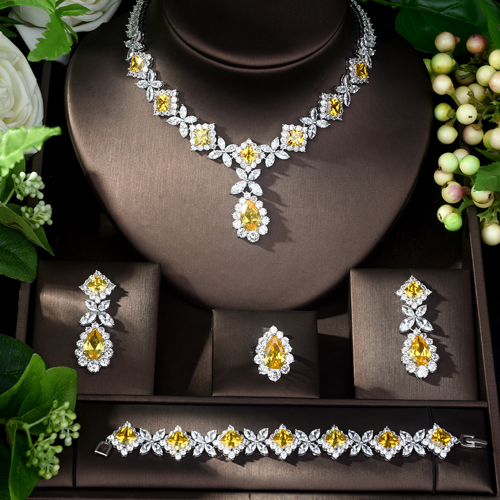 HIBRIDE Hot Sale AAA Cubic Zirconia Necklace Bracelet Earrings and Ring 4pcs Dubai Full Jewelry Set for Women Party Gift N 327-in Jewelry Sets from Jewelry & Accessories    2