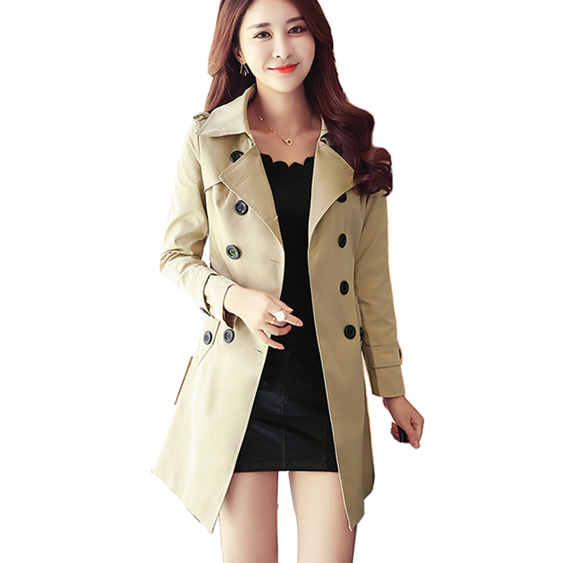 2018 New Fashion Double Breasted Mid-long   Trench   Coat Women Khaki Slim Belt Cloak Mujer Windbreaker Female Abrigos Brazil   Trench