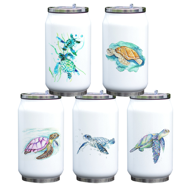 Turtle Print Stainless Steel Portable Water Bottle 5