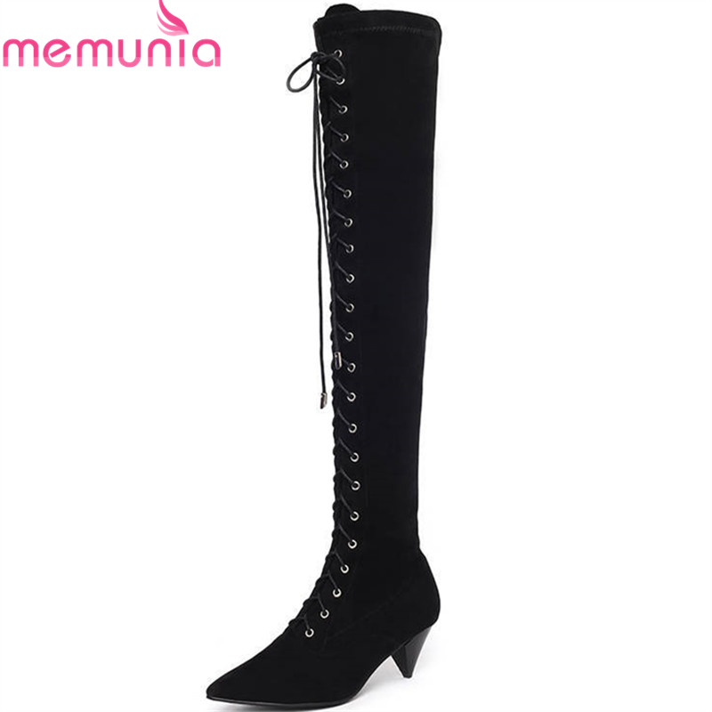 MEMUNIA 2018 new arrival thigh high over the knee boots women pointed toe autumn winter boots zip lace up fashion prom shoes MEMUNIA 2018 new arrival thigh high over the knee boots women pointed toe autumn winter boots zip lace up fashion prom shoes