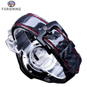 Image 5 - Часы наручные Forsining Мужские автоматические, спортивные блестящие механические с кожаным ремешком, 3 циферблата, дата день