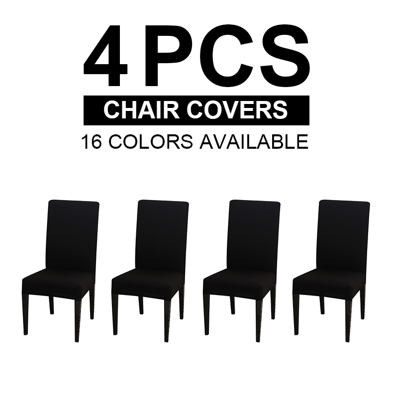 4 Pieces Cheap Dining Room Chair Cover Spandex Stretch Seat Covers Restaurant Parson Chair Slipcovers High Quality