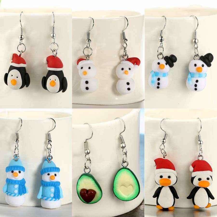 Polymer Clay Christmas Jewelry.Cute 3d Cartoon Christmas Santa Claus Penguin Snowman Earrings Handmade Polymer Clay Earring Brincos For Women Jewelry