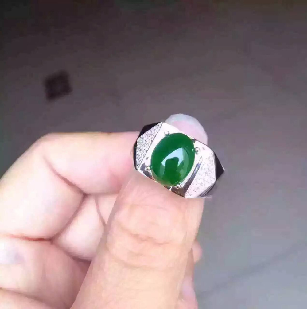 Natural green jasper stone Ring Natural gemstone Ring S925 sterling ...
