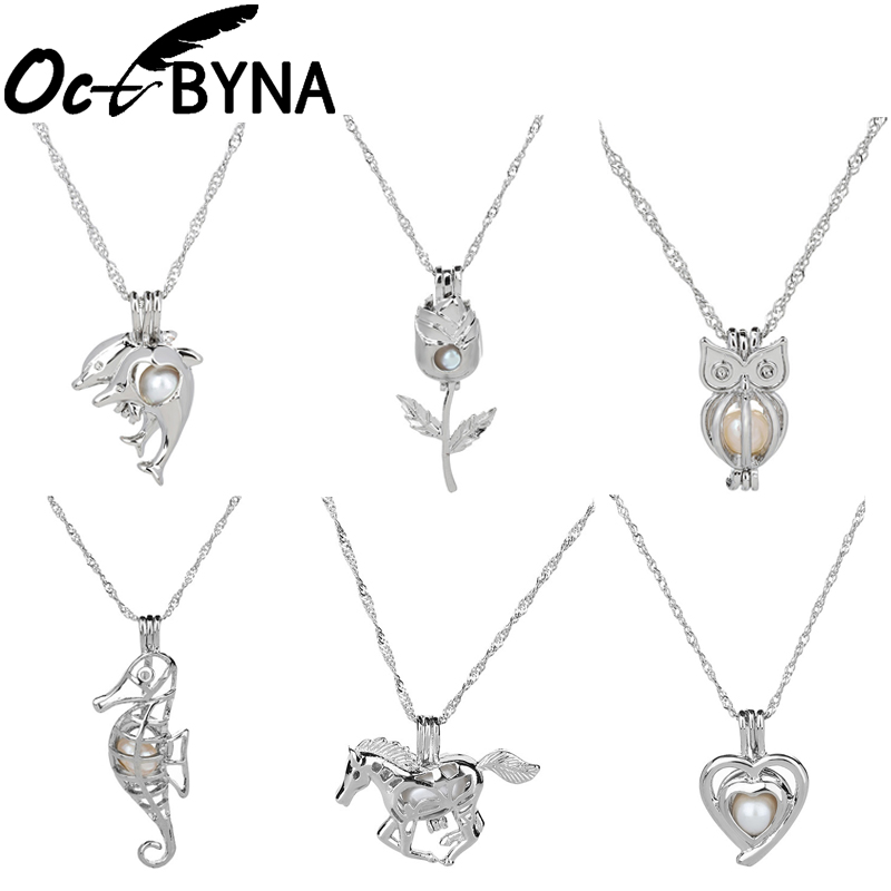 HENGSHENG Pearl in Oyster Cage Pendant Necklace Mermaid Pendant for Women Locket Jewelry Making Charms Silver Color