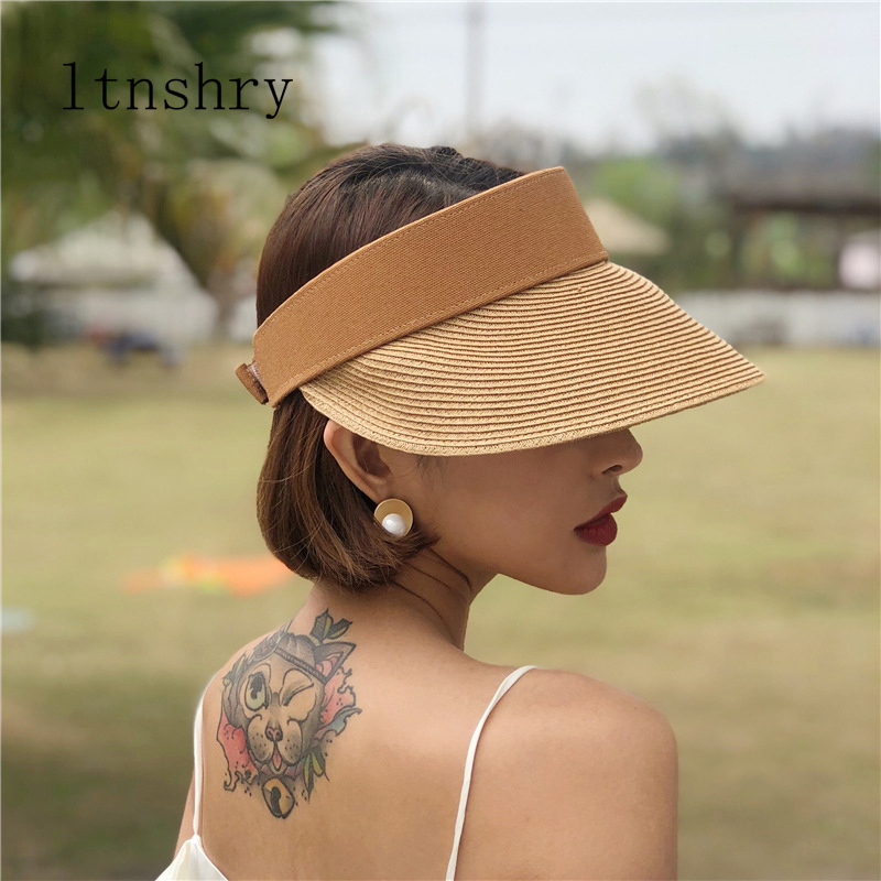 Summer Straw Hats For Women Beach Holiday Caps Hot Womens Straw Hats Sun Visor Hat Adjustable With Big Heads Wide Brim Outdoor