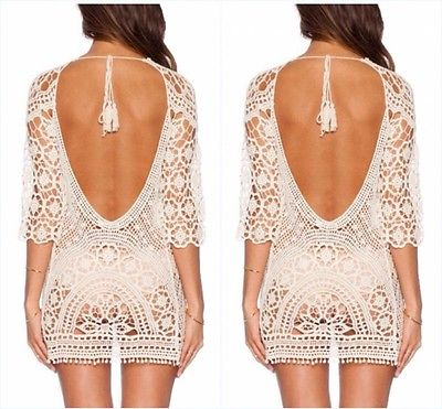 Summer Women Sexy Swimsuit Lace Crochet Bikini Cover Up Swimwear Beach Dress New