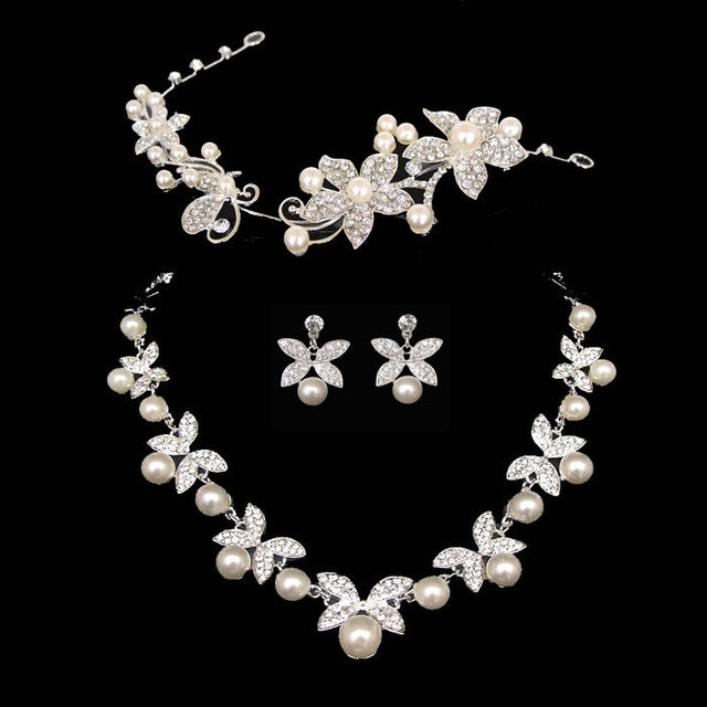 Shipping water Linger necklace earrings three-piece bridal hair accessories wedding accessories wholesale Korean jewelry