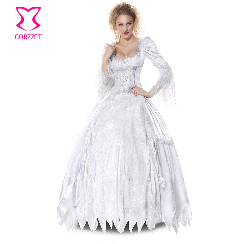 corzzet white satinlace victorian long sleeve style vampire corpse countess halloween cosplay costume for women petticoat - Halloween Petticoat