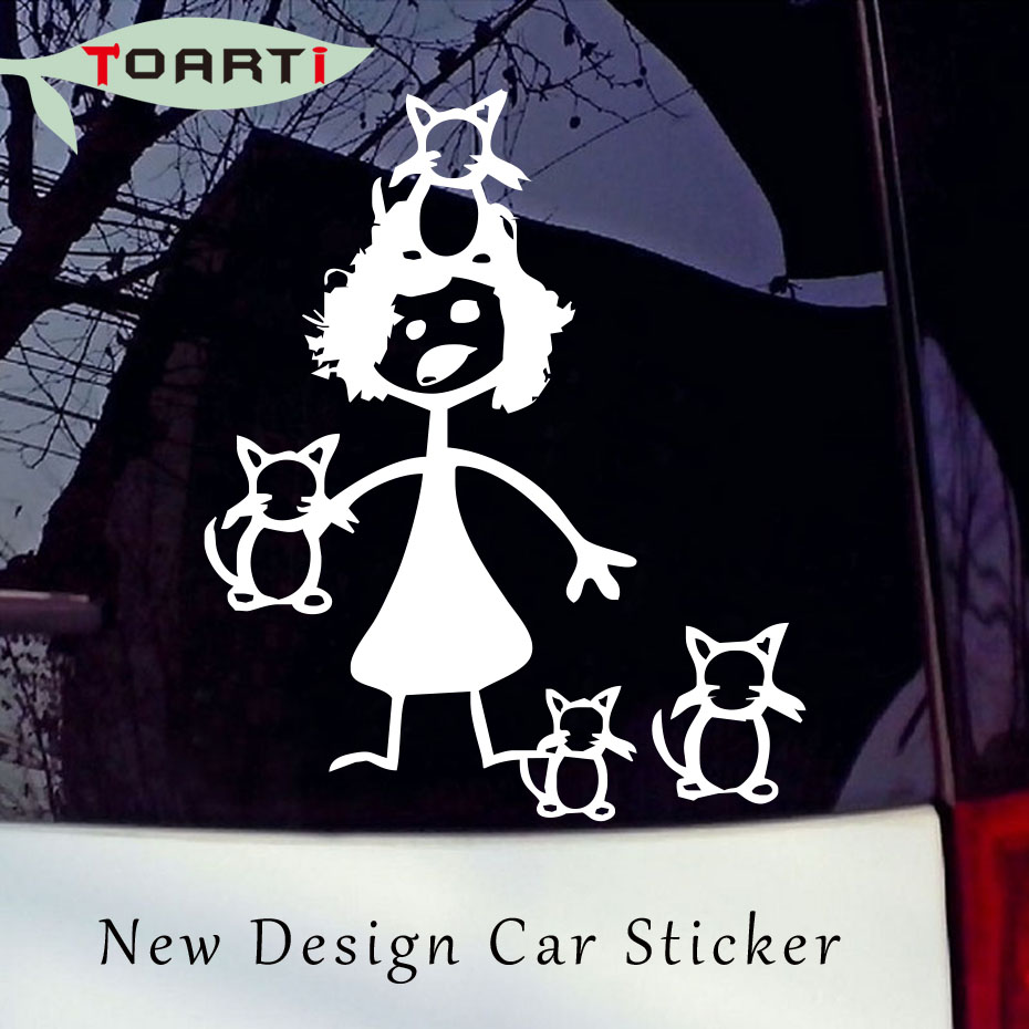 12.7*15.5 CM Crazy Cat Lady Family Vinyl Creative Cartoon Auto Decals Styling Window Decorative Funny Car Sticker