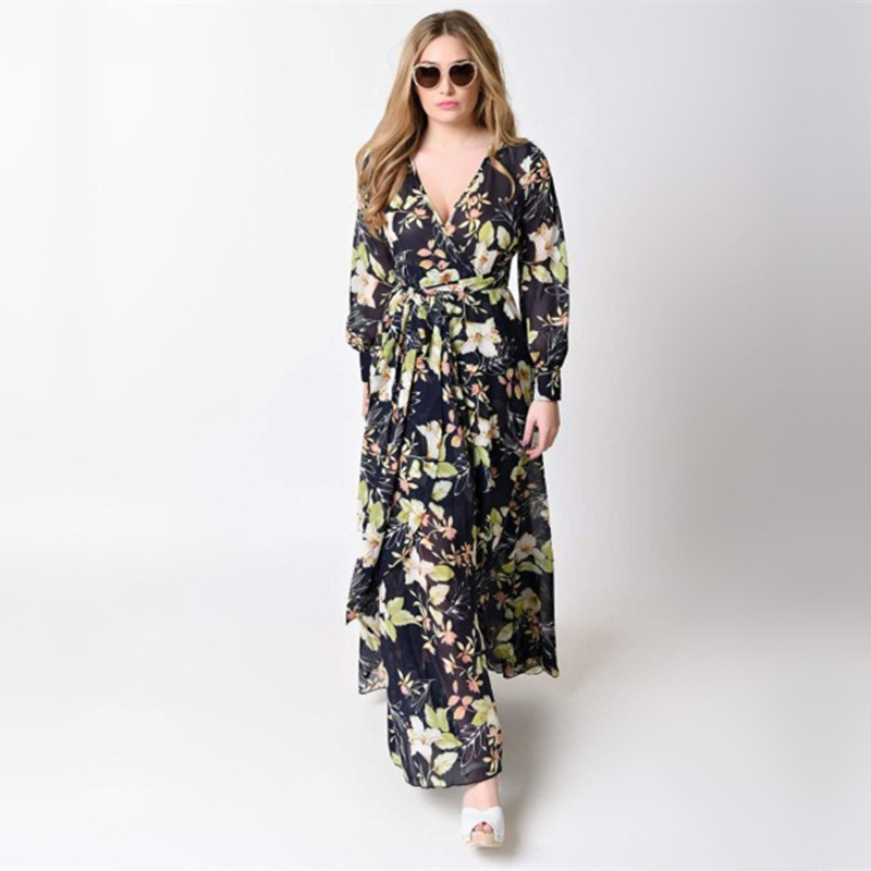 Le Couple Floral Print Boho Maternity Maxi Gown V-neck Maternity Photography Print Long Dress Boho Pregnancy Maxi Dress graceful low cut wrap high slit print pure color maxi dress