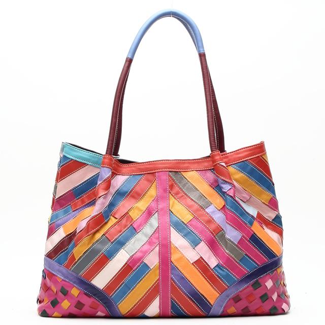 Arliwwi Brand Top Quality Soft Sheepskin Elegent Handmade Tote Handbags Rainbow Color Shoulder Bags For Women Genuine Leather