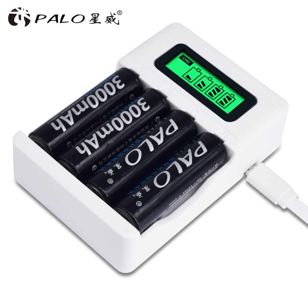 12 шт. AA перезаряжаемая батарея 3000 mAh перезаряжаемая 2a Ni-MH 1,2 V батарея для вспышки игрушечной камеры с USB интеллектуальным ЖК-зарядным устройством