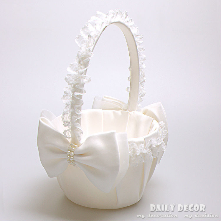 High Q Flower Satin Wedding Basket Lace Bow Bridal Basekets Accessories Cestas De Casamento Boda Free Shipping In Party Diy Decorations From