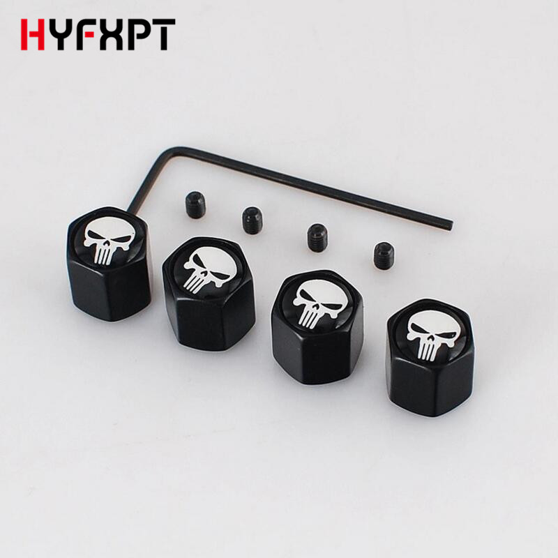 Anti-Theft Black Metal Skull Emblem Car Tire Valve Caps Tyre Stems Auto Wheel Tire Accessories
