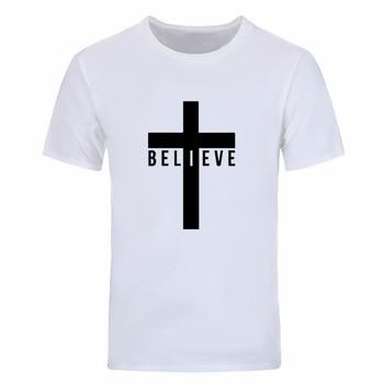 I Believe God Christian Men's Fashion T Shirts Cross Printing Black white gray Tops Tees 90s women unisex graphic goth tshirt