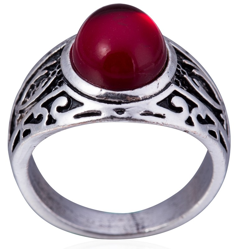 Red Jade Double Sword Ring,Sword Ring Sterling Silver,Zulfigar Sword Man Ring,Mens Oxidized Ring,Elegant Ring Chic,Red Quartzite Jade Ring