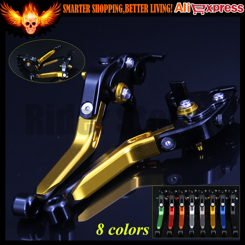 Gold+Black 8 Colors Motorcycle Folding Extendable Brake Clutch Levers For Yamaha FZ6 FAZER 2004 2005 2006 2007 2008 2009 2010 aftermarket free shipping motorcycle parts eliminator tidy tail for 2006 2007 2008 fz6 fazer 2007 2008b lack