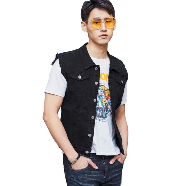 5d71380040a JOOBOX Plus Size Classic Denim Vest Men black New Slim Fit Sleeveless Jean  Jacket Vests Turn-down Collar Waistcoat For Men 3xl