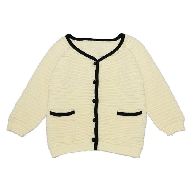 Baby Girls Knitted Cardigan 2016 New Fashion INS Hot Kids Sweater Black White Stitching Hepburn Style Autumn Winter 12M-5Y GW58