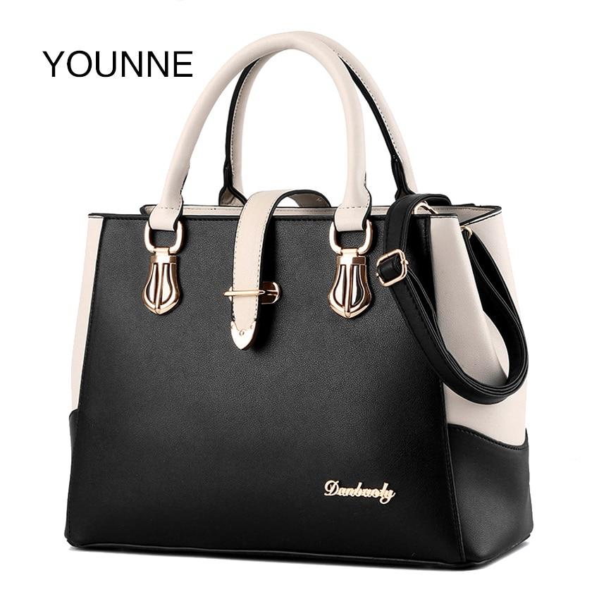 YOUNNE Women <font><b>Handbag</b></font> Women's Patchwork Fashion Shoulder Bag Female Casual Solid Color Bags Lady Simple Style Message Bag Bao