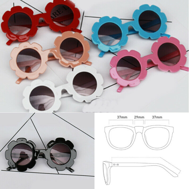 Kids Sunglasses Flower Boys Girls Round Glasses Children Baby Plastic Eyewear Metal Frame Baby Eyewear Cute