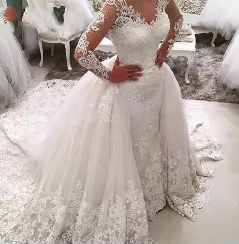 Vestido De Noiva Lace Mermaid Wedding Dress With Detachable Skirt Backless Long Sleeve Saudi Arabia Bridal Wedding Gowns Dubai