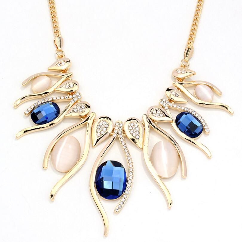 Vintage High Quality Round Crystal Necklaces & Pendants For Women Hyperbole Big Pendant Necklace Gold-Color Fine Jewelry