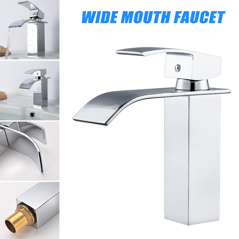Square Wide Mouth Faucet Copper Alloy Faucet for Bathroom Basin CLH@8Square Wide Mouth Faucet Copper Alloy Faucet for Bathroom Basin CLH@8