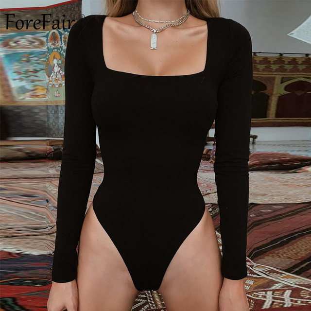 Forefair Sexy Bodycon Bodysuit Long Sleeve Square Neck Sheath Open Crotch Basic White Black Red Overalls Women Body Top 1