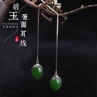Серьги, ювелирные изделия из стерлингового серебра 925 пробы, выдалбливают инкрустированные нефритовый пояс, сертификат, модный подвескаиз