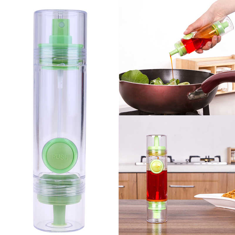 2 in 1 Gravy Boats Cooking Olive Oil Sprayer Dispenser Cruet Oil Bottle Sprayer Can Oil Jar Pot Tool Can Kitchen Pastry Tools