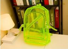 2017 waterproof women PVC backpacks candy color transparent fluorescent bag student jelly men travel bags