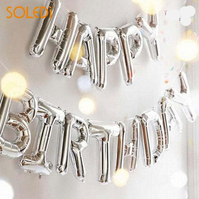Fashion Self Inflating Balloon Birthday Banner Balloon Happy Birthday Balloons Beautiful Foil Golden Silver 13 Letters Banner