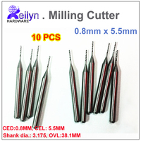 10pcs 0 8x5 5x3 175mm PCB Milling Cutter CNC Cutter Carbide End Mill Rountering Tool Mini