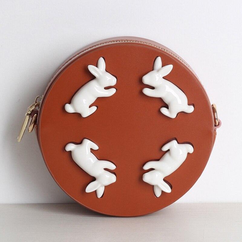 Princess Sweet Lolita Leather Bag Ceramic Rabbit Bag Pm Round Hand Mobile Wrist Handbag Party Shoulder
