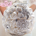 Hot sale white Ivory Pink artificial wedding bouquets Hand made Flower Rhinestone Bridesmaid Crystal 2017 Bridal Wedding Bouquet