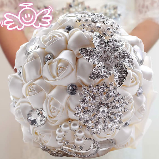 Venta caliente blanco Marfil Rosa ramos de novia artificial hecho A Mano Rhinestone de La Flor de Cristal 2017 Ramo de Novia de La Boda de dama de Honor