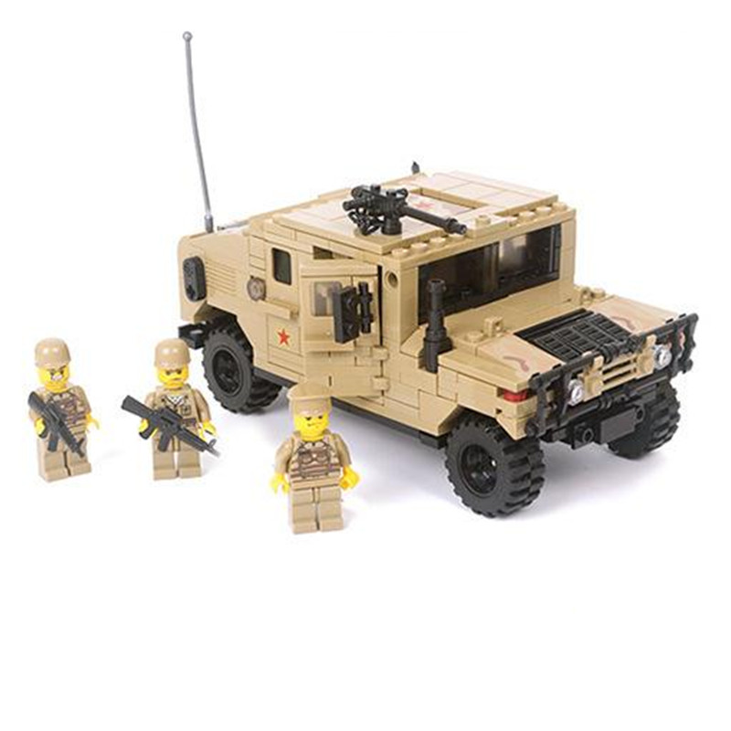 KAZI Military War Vehicle H1 3D Field Force Heavy Type Model Building Bricks Soldier Christmas Gift Toys for Children atlas 1 43 germany horch kfz 15 military command reconnaissance vehicle model alloy collection model holiday gift