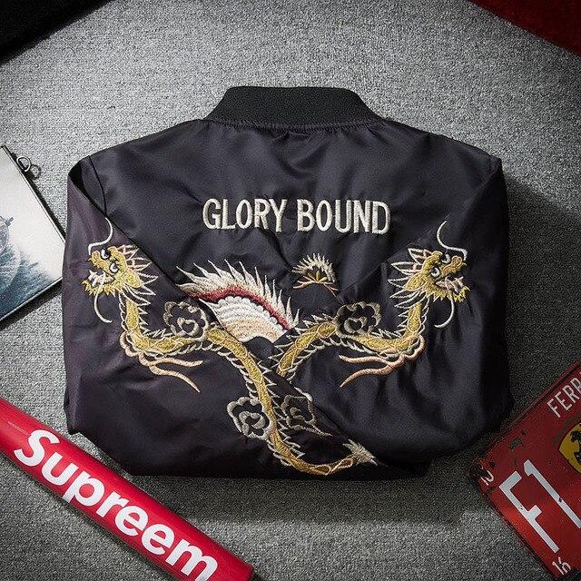 AmberHeard Fashion Spring Autumn Men Jacket Streetwear Dragon Eagle Embroidery Japan Black Bomber Jacket MA1 Flight Aviator Coat 3