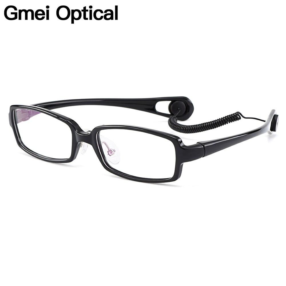 Gmei Optique Ultra-léger Flexible TR90 Confortable Sûr Jante Pleine Enfant de Lunettes Cadres Selle Pont Anti-goutte lanière H8023