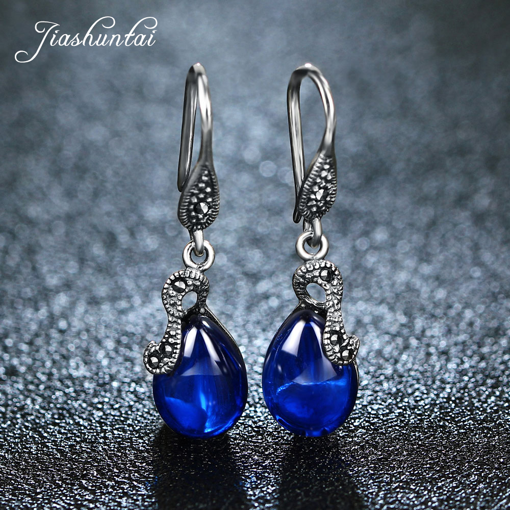 JIASHUNTAI Retro 100% 925 Sterling Silver Drop Earrings For Women Natural Precious Stones Vintage Thai Silver Earring Jewelry