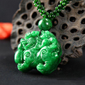 Natural Dry-Green Jade Brave Troops (Pi Xiu) Pendants Necklace Double Brave Troops Lucky Fine Carving Women Sweater Chain