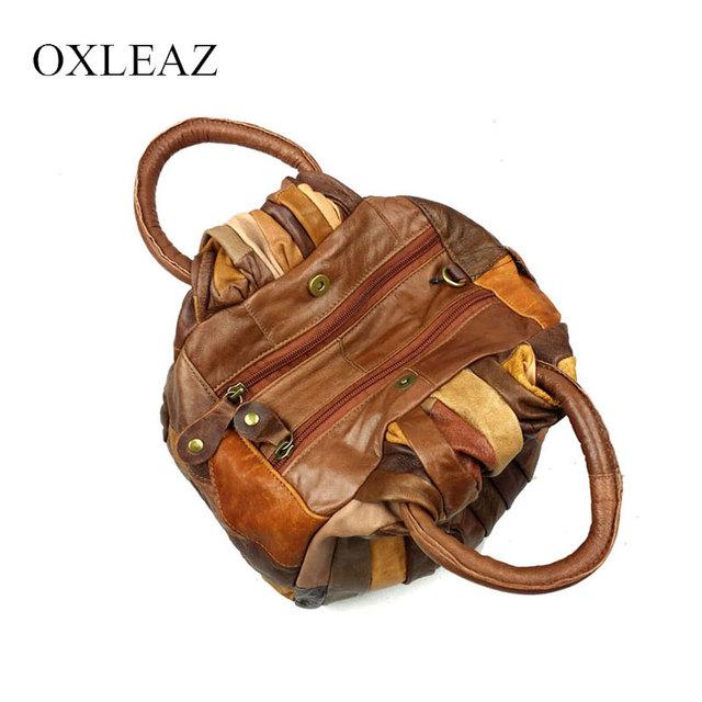 OXLEAZ Patchwork Women Leather Handbags Vintage Small Ladies Hand Bags Girls Soft Genuine Leather Shoulder Bag Ladybag