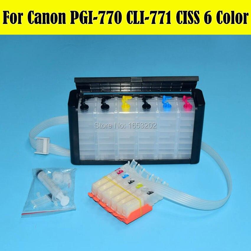 6 Color MG7770 Ciss Bulk Ink Supply System For Canon Printer PGI770 PGI771 770 Cartridge With ARC Chip цена 2016