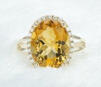 Stunning 5.08ct 14k Yellow Gold Natural Genuine Citrine & Diamond Engagement Ring